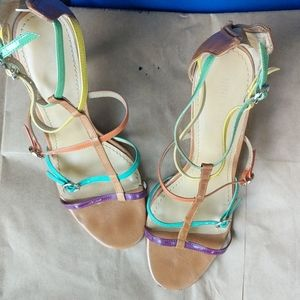 Nine west multi colored leather sandals